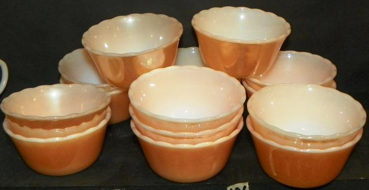 Set of 15 Peach Luster Fire king Custard Cups