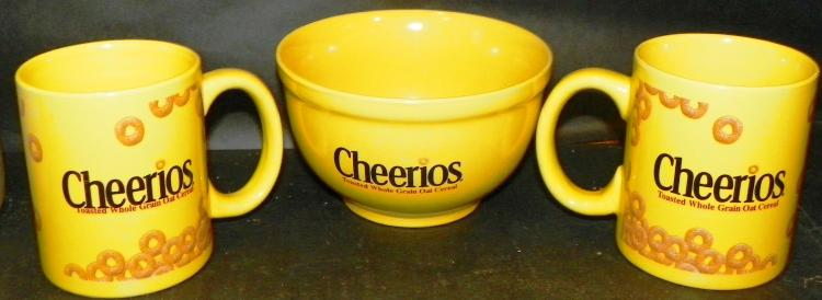 Cheerios Bowl and Two Mugs Advertising