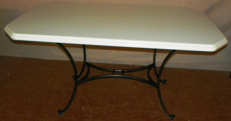 Contemporary Marble Top Iron Base Table