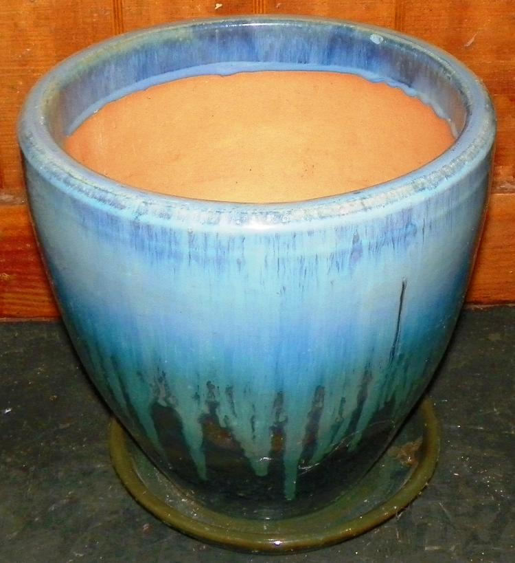 Blue Pottery Planter with under plate