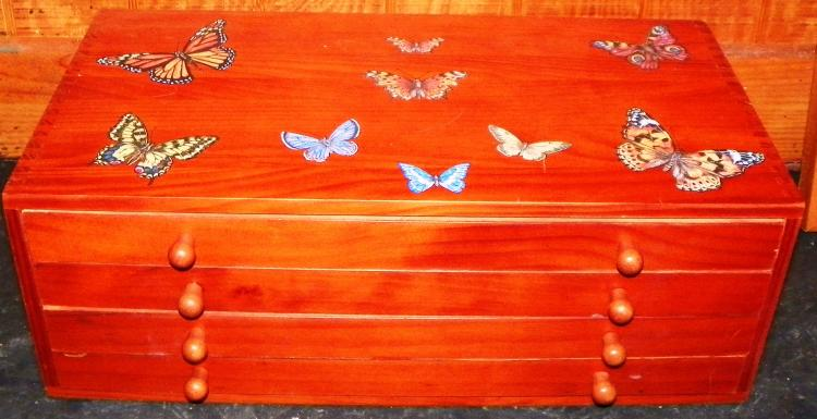 Pine Four Drawer Document Box with Decoupage Butterflies