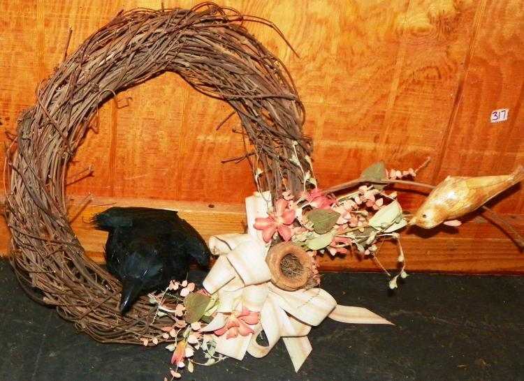 Grapevine Wreath with Crow