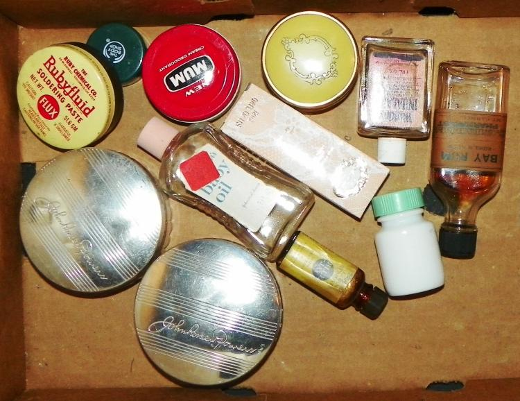 Box Lot Mixed Advertising Jars and Cans