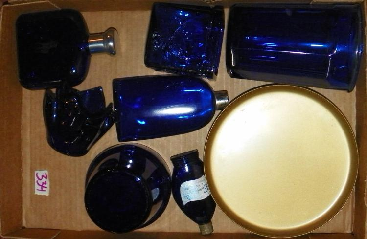 Box Lot - Cobalt Blue Glassware & Bottles