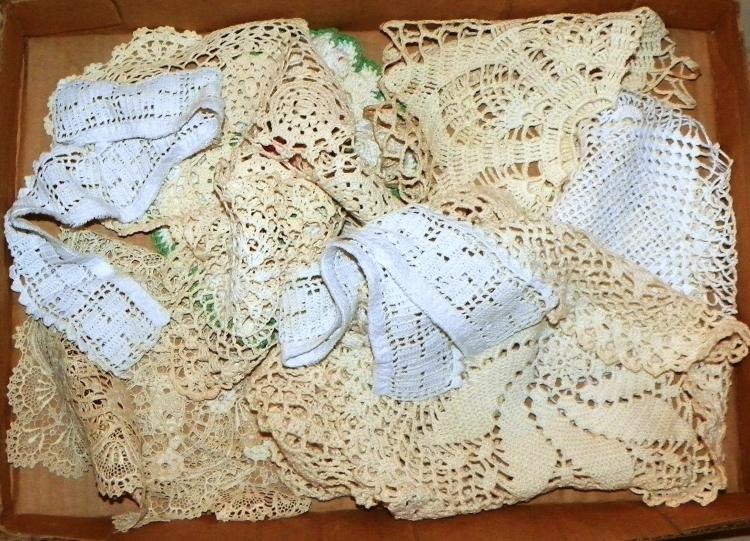 Box Lot - Various Crochet Doilies and Tatting