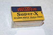 Lot 347: Western Super X Long Range – 22 Long Rifle (Hollow Point) – Box of Ammo – AFF – WTOC