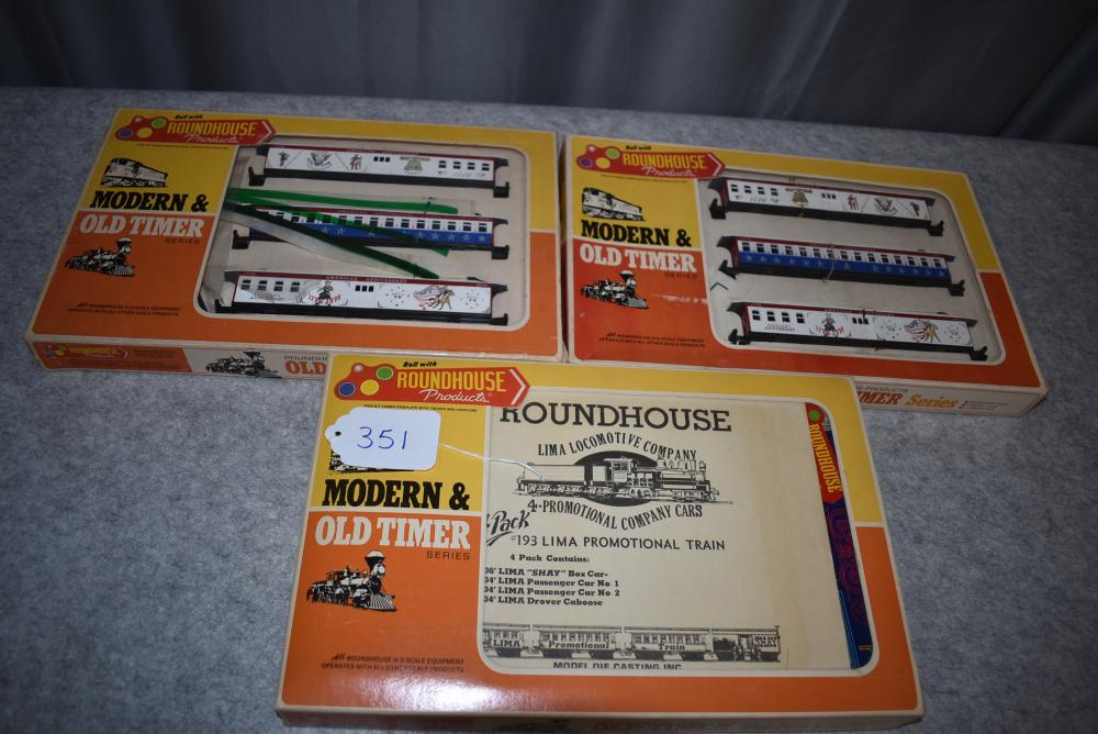 Lot of 3 Roundhouse Products HO Modern & Old Timer Series including 2- Bicentennial Car Series Anniversary Series, 1- #193 Lima Four-Pack, w/boxes