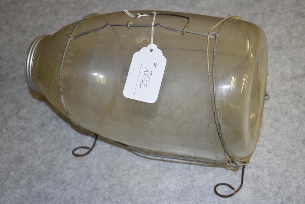 C.F. Orvis glass minnow trap with aluminum screw off lid, wire handle and harness