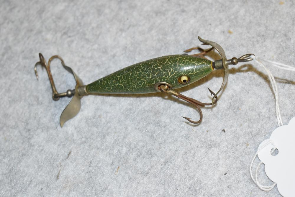 """Early Heddon #100 minnow. GE. W two belly weights, NNOP, green crackle back finish. HPGM, 2 ¾"""" in length w/ cup rig"""