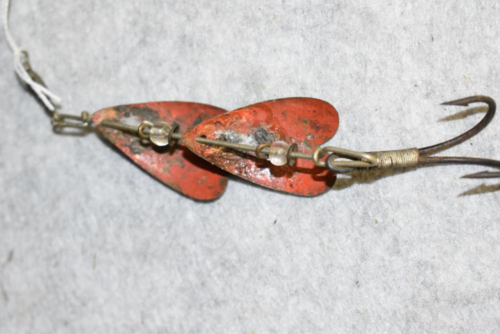 Double bladed J.H.Mann spinner, Syracuse NY, has the double hook, Glass beads & box swivel, The lower blade needs repair.