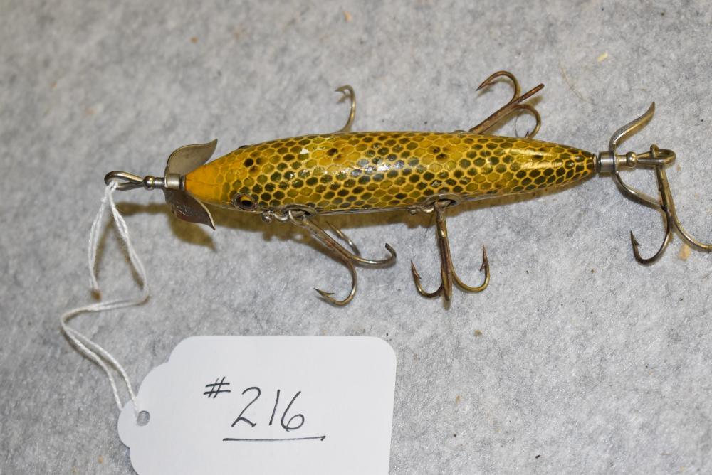 Heddon #150 underwater minnow. Frog scale finish. GE, NOP, L-rig hardware, age cracks, re-varnished (F)