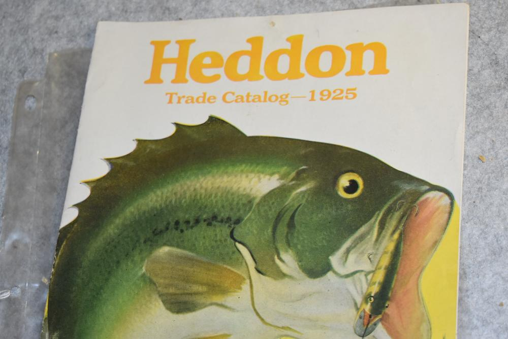 """Heddon Trade catalogue. 1925. Measures 8"""" x 11"""", 13 pages, has color charts inside, thumb tack hole top center, spine is intact"""