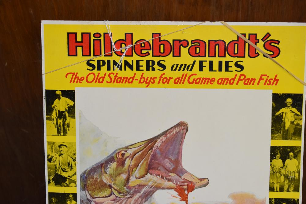 """Hildebrandt's spinners and flies. Die cut store display with easel stand on back. 14"""" x 10 7/8"""" inches. (Nice color scene)"""