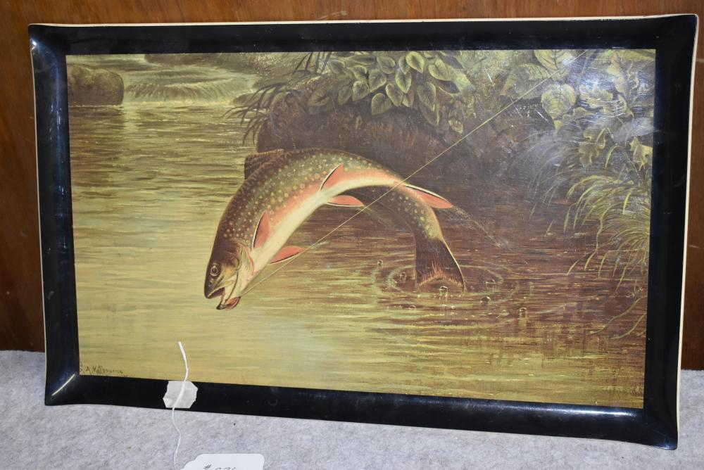 """Wall hanging serving tray, Scene of jumping Brook Trout, signed by S.A. Killbourne, measures 21""""x13"""". (Excellent condition)"""