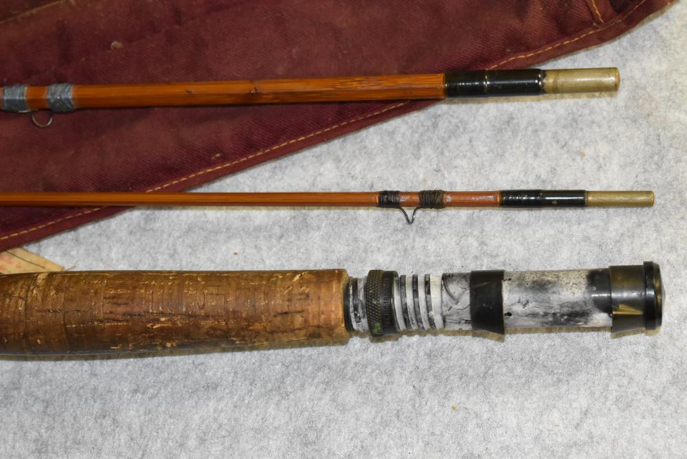 Heddon #17 Black Beauty Bamboo fly rod. 8 ½' in cloth bag. Labeled bag with metal tube. HCH & D, fly lines, 1 tip, Three sections are full length, some wraps need attention.