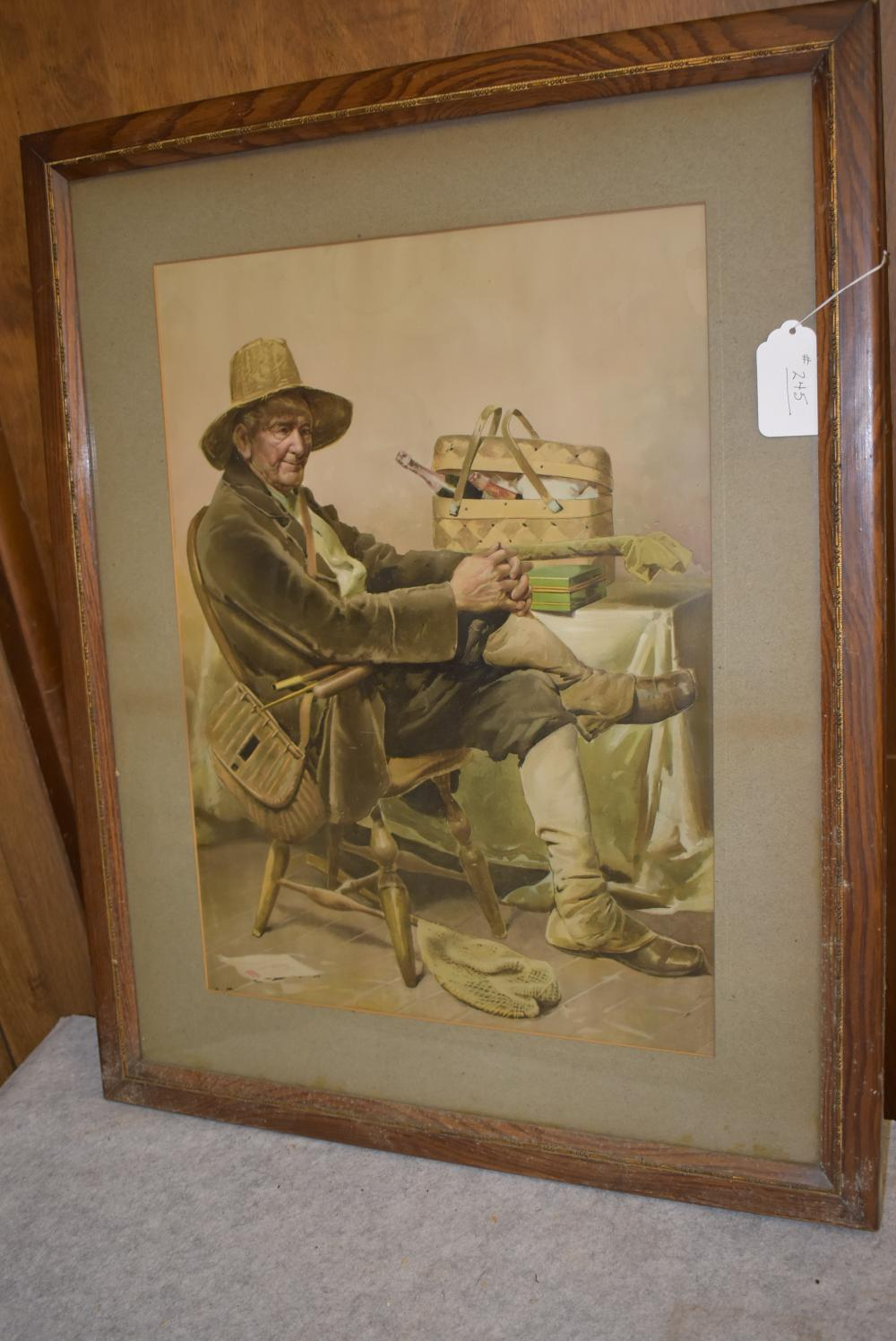 """Nice Framed print, shows an older gentlemen dressed in fishing outfit. Complete w/creel, tin tackle box, rod in bag, landing nets, Picnic basket w/two bottles of wine. Measures 24 ½"""" x 30 ½"""" framed."""