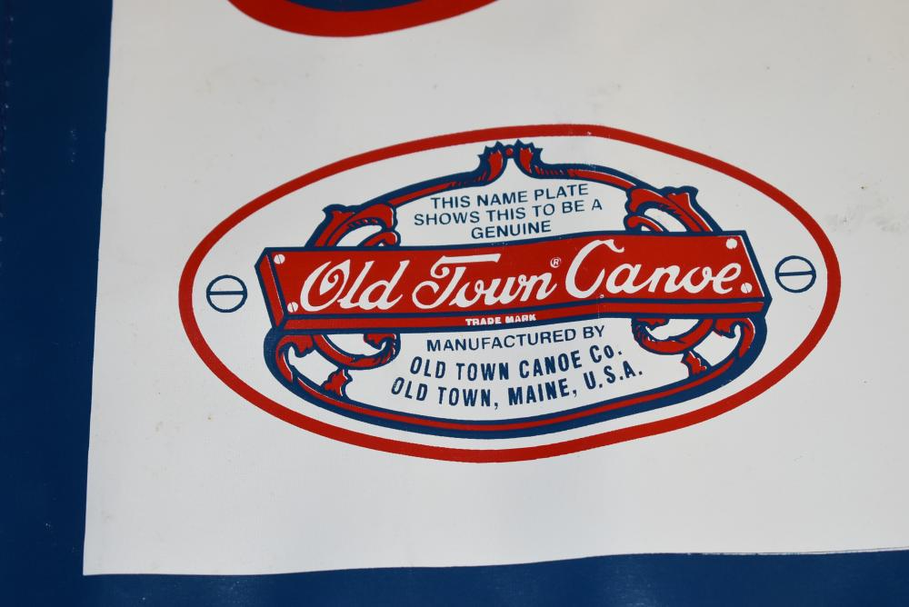 """Old Town Canoe Company vinyl banner sign w/brass grommets.  Measures approximately 5' x 19"""" (Excellent)"""
