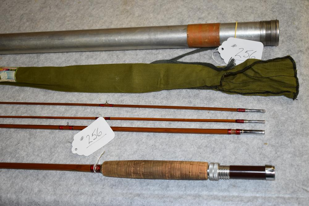 Horricks & Ibbottson Saranac bamboo fly rod in bag & metal tube.  9' length.  Agate stripping guide.  Original decal on butt section.  All sections are full length.  Original finish.  Some wraps missing above the male ferrule on the mid.  Labeled cloth bag.