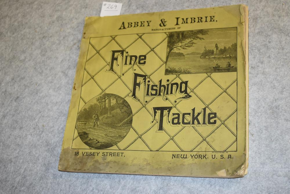 """1889 Abbey & Imbrie catalog of fine fishing tackle.  136 pages.  Large format 11"""" x 10 ¾"""".  Very fragile, handle w/care."""
