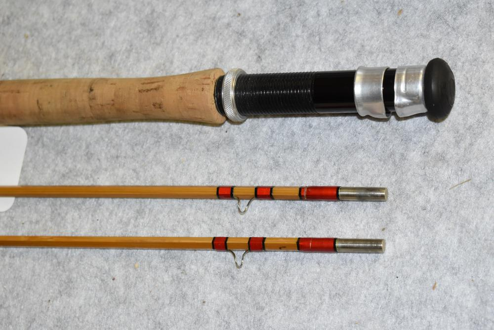 """Herter's Grand Deluxe ST. Albans Bamboo Fly Rod – """"Entirely Hand Made"""" – """"R.H. & Co. – World's Finest Custom Rods"""" – Made in England – 8' in Length - 2 Pc. w/Extra Tip – All Lengths are Full – Very Slight Wear – Comes in Cloth Bag in Metal Tube w/No Cap"""