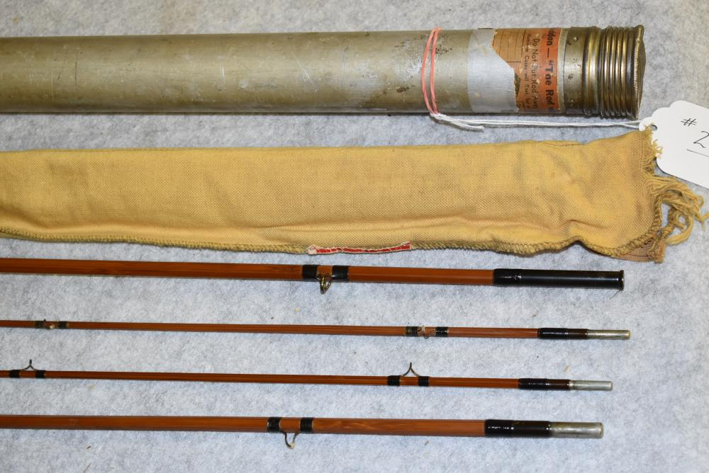 Heddon Bamboo Fly Rod - #17 - 9' – 2 F – HDH or E. 3 Pc. w/Extra Tip – All Sections are Full Length – Comes in Cloth Bag w/Labeled Metal Tube