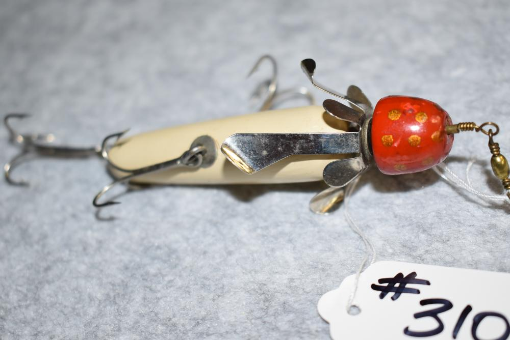 """Miller's Prototype Minnow – Measures 3½"""" in Length – 3 Hooks – Wire Through Body – 2 Side Hooks w/Screw Eye & Washer Hardware – Has Only 1 of the Miller's Spinners – Red Head w/Gold Spots & White Body – Nice Clean Minnow"""