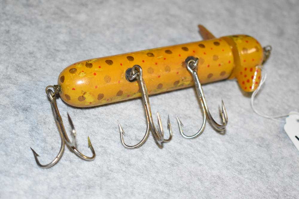 """Miller's Prototype Rotary Head Musky Size Minnow – Measures 5¼"""" in Length – Has 1 Metal Spinner Which is Painted –Wire Through the Body – Has 3 Treble Hooks – 2 Belly Hooks w/ Screw Eye & Washer Hardware – Yellow w/Gold Spots Finish w/ Smaller Red Spots Added."""