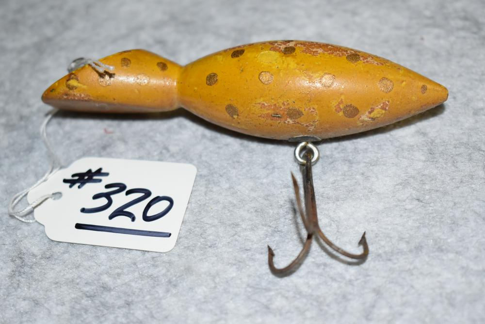 """Miller's Prototype Tango Type Lure – Measures 4 1/16"""" in Length – Has the Single Belly Hook w/Screw Eye & Washer Hardware – Yellow w/ Gold Spots Finish – Head has Straight Bottom & Slant Top – Some Paint Blemishes"""