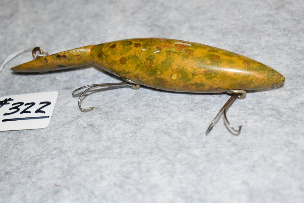 """Miller's Prototype Tango Type Lure – Measures 5¾"""" in Length – Has 2 Belly Hooks Which are Doubles Neverfail Hardware – Line Tie has Washer – Yellow & Green Matted Finish w/Red & Gold Spot Face – Some Finish Blemishes"""