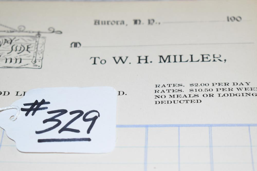 William Miller Letterhead for: Way-Side Inn, 1866 Aurora, N.Y. – Label from Union Springs Specialty Co. – Business Card from Paul Miller (W.H. Millers' Son) Electrical Contractor Marcellus, N.Y. – Cardboard Back Mounted Trade Card Testimonial in Original Envelope.