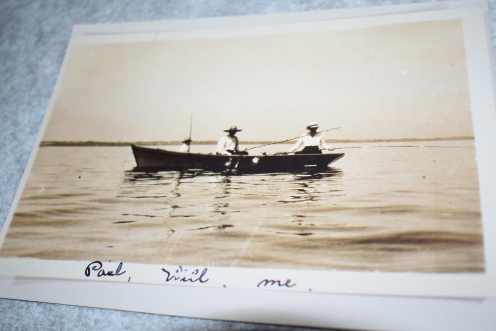 """Group of 3 Photos – 2 are Originals on Cardboard Backing – 1st is a Large Format Photo – Camp Recluse, Lake George, August 17-22 – Measures 13¾"""" x 11¾"""" – Second is a Store Front Photo: A.G.S. Cash Store Sea Foods – Ink Signed on Front: W. H. Miller Union Springs – Third is a Copy: 3 People Fishing: Paul, Will, Me – All 3 Were in the Ed Salensky Collection"""