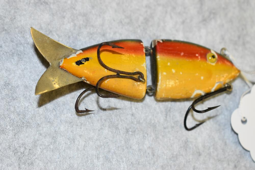 """K&K Jointed Minnow – G.E. 3¾"""" in Body Length – 3 Double Hooks – Numerous Paint Chips as is Typical for These Lures – Metal Tail - Rainbow Finish (F)"""
