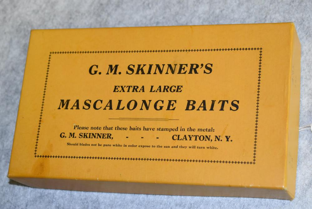 """G. M. Skinners Mascolonge Baits – Empty Box – Measures 8¼"""" x 4¾"""" x 1½"""" – End Label Reads: Half Doz. No. 12 Nickel Plated – Other End has Store Code & Pricing"""