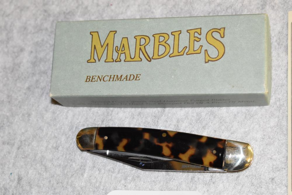 """Marbles bench made pocket knife. T.S. Whittler signed on the box end. Three blade knife and measures 4"""" in closed length. NIB"""