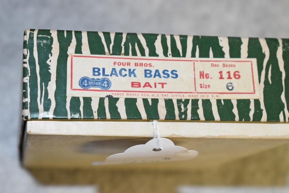 Four Brothers dealer box of Black Bass Baits. Full dozen wrapped spinners. No.116 size 6
