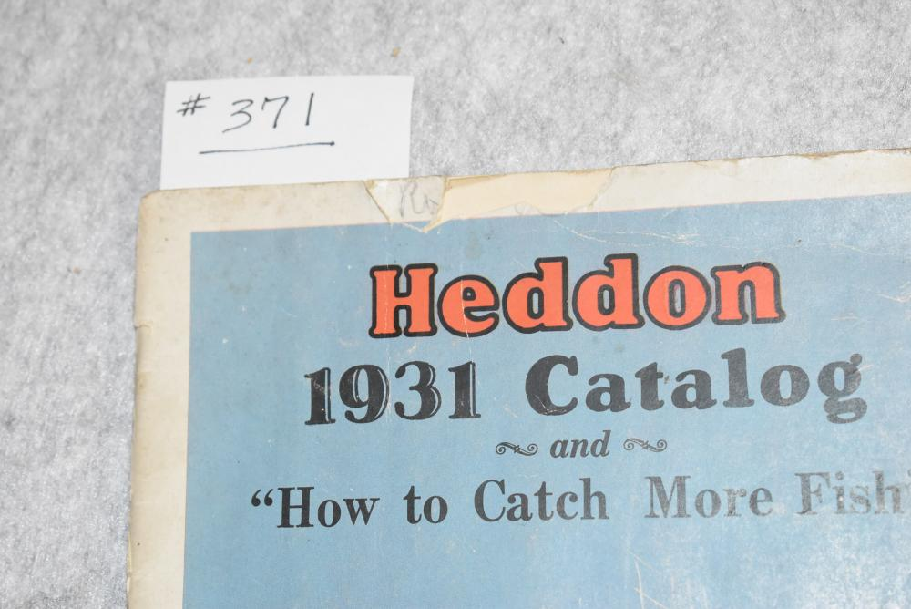 Heddon 1931 catalogue. Measures 10 ¼ x 7'. 40 pages, some soiling, creases and small tears to the cover. Some spine damage at bottom, colors are strong.