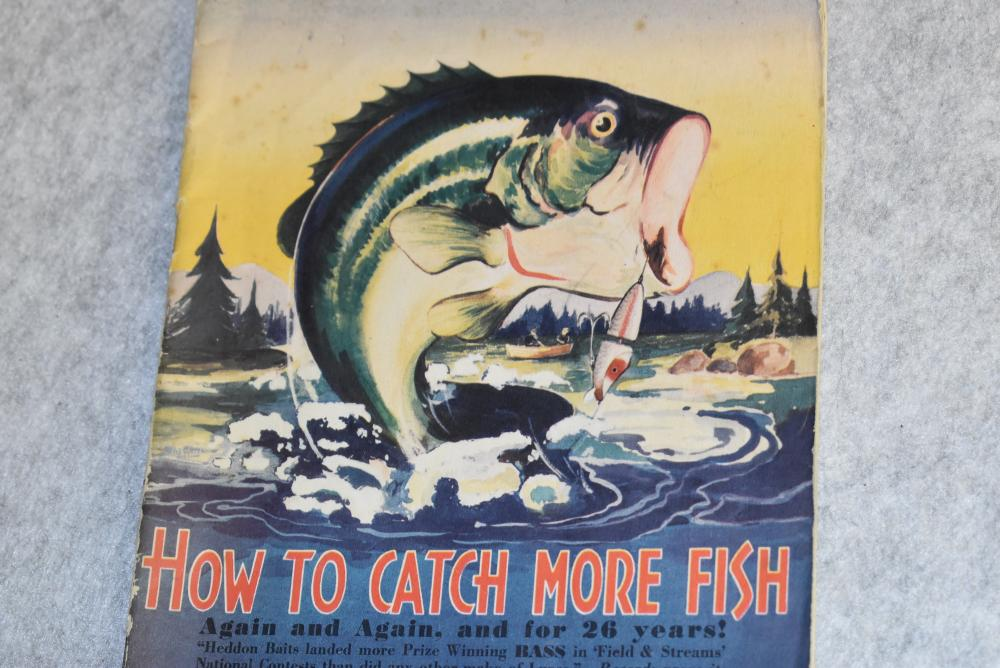 """Heddon 1938 tackle catalogue. Measures 10 ¼ x 7"""". Has strong colors throughout, 40 pages, color charts for the fly red baits. Some light soiling."""