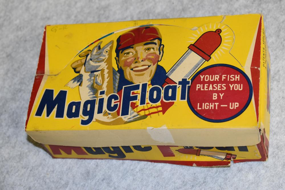 Dealer box of Magic Floats. Ink stamped inside the lid, B&B Enterprises, Ilion NY Made in Japan w 12 individual boxes in the colorful dealer box. Box has a few tears.