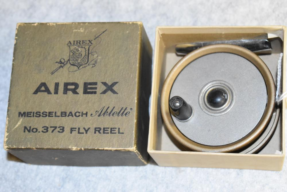 Airex-Meisselbach Ablette No. 373 fly reel in the original box. The reel measures 2 7/8 across the face, constant click. Box has tear on one label.