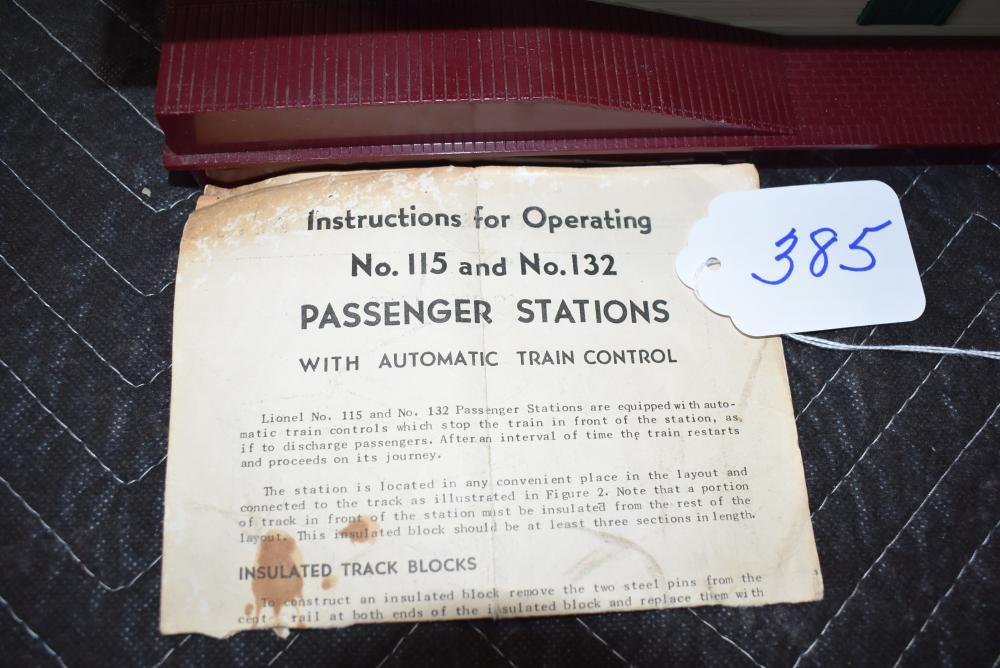 LIONEL # 115 PASSENGER STATION W//AUTOMATIC TRAIN CONTROL INSTRUCTIONS PHOTOCOPY
