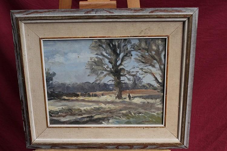 John Reginald Burman (b. 1936), oil on board - Spring Trees, signed, inscri