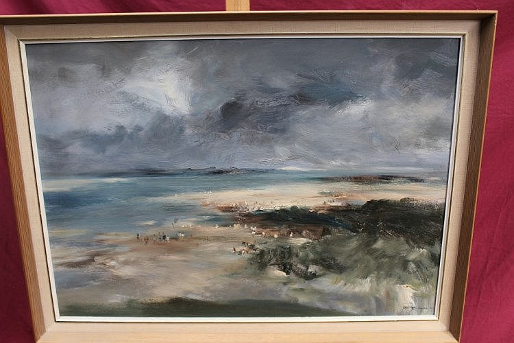 John Burman (1915 - 1987), oil on board - Holkham Beach, signed, 55cm x 73c