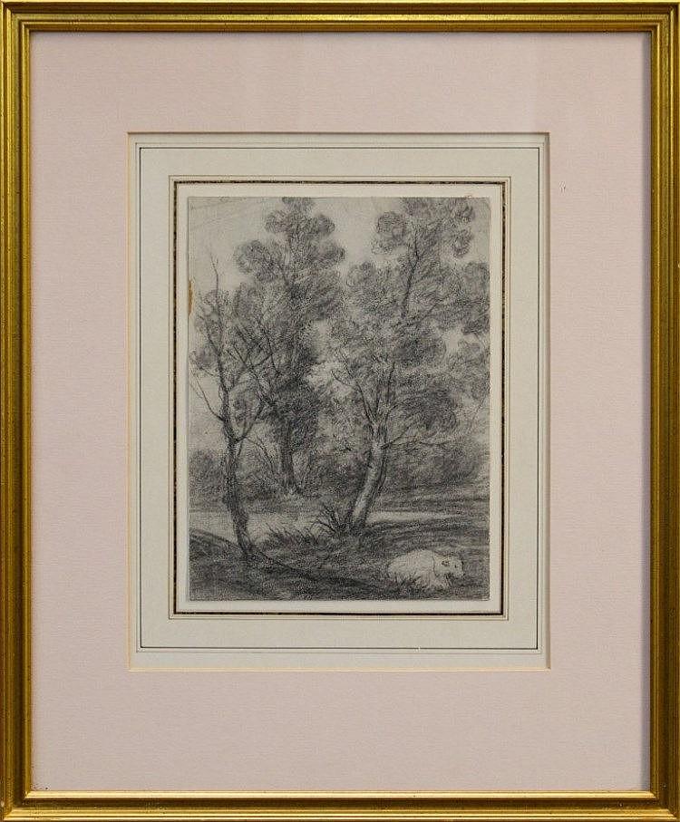 George Frost (1754 - 1821), black chalk - cattle below trees, 21cm x 15cm,