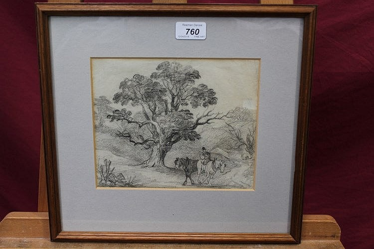 George Frost (1754 - 1821), chalk - horseman beneath trees, 17cm x 21cm, in