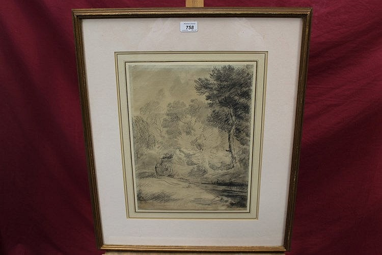 George Frost (1754 - 1821), chalk - wooded landscape with cart, 38cm x 28cm