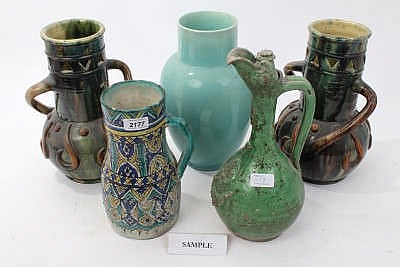 Group Of Decorative Continental Pottery Vessels Jugs Vase