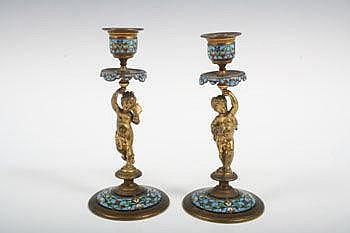 Pair of nineteenth century French ormolu champlevé