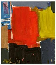Michael Kane (b. 1935), oil, acrylic and collage - Scarlet & Black, signed
