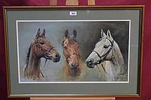 Susan Crawford, coloured print - We Three Kings, in glazed frame and one ot