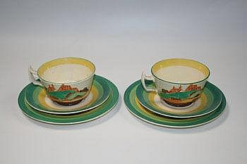 Two Clarice Cliff Fantasque Bizarre range hand